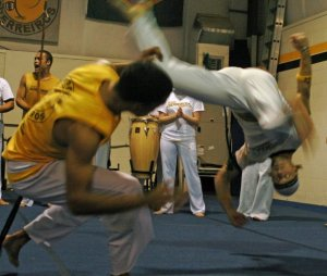 Capoeira:  The goofy looking upside-down one is me.